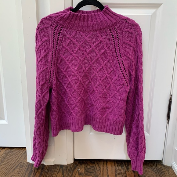 American Eagle Purple Cable Knit Sweater